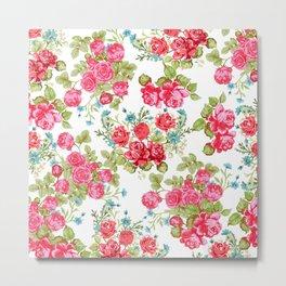 Botanical magenta teal green vintage vector roses floral Metal Print