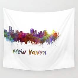New Haven skyline in watercolor Wall Tapestry