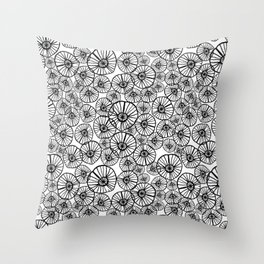 Lexi - squiggle modern black and white hand drawn pattern design pinwheels natural organic form abst Throw Pillow
