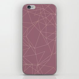 Rose Gold Geometrical Print on Dusty Rose iPhone Skin