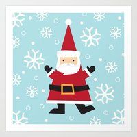 santa Art Prints featuring Santa by Claire Lordon