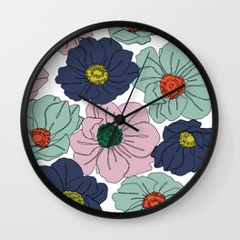Anemone floral illustration - Anemone all over Wall Clock