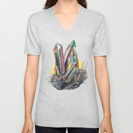 Rainbow Metallic Crystals Unisex V-Neck