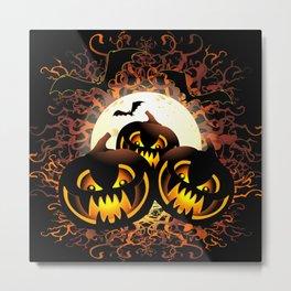Black Pumpkins Halloween Night Metal Print