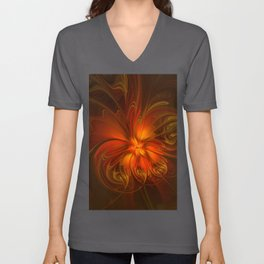 Burning, Abstract Fractal Art With Warmth Unisex V-Neck
