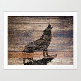 Rustic Wolf Silhouette A383 Art Print