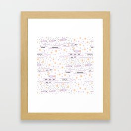 Little Lilac Fish in the Sea , Waves and Water with Tiny School of Fishes Pattern Framed Art Print