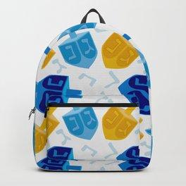 Happy Hanukkah Holidays Blue and Gold Dreidel Pattern Backpack