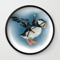 puffin Wall Clocks featuring Puffin by Belcast