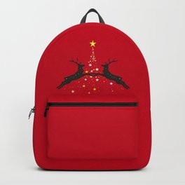 Star Christmas Tree with reindeer - Red Backpack