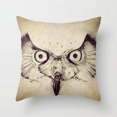 Deconstructed Owl Face Throw Pillow