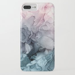 Blush and Payne's Grey Flowing Abstract Painting iPhone Case