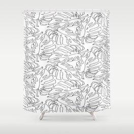 Monstera Black and White Line Art Pattern Shower Curtain