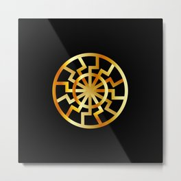 Black Sun symbol in gold- Schwarze Sonne- Occult subculture symbol Metal Print