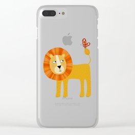 Lion Looking at a Butterfly Clear iPhone Case