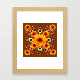 COFFEE BROWN GOLDEN SUNFLOWER MODERN ART DESIGN Framed Art Print
