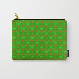 Tiled pattern of green squares and orange triangles striped. Carry-All Pouch