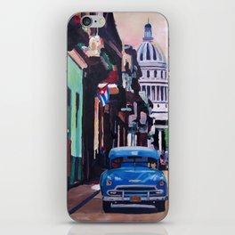 Cuban Oldtimer Street Scene in Havanna Cuba with Buena Vista Feeling iPhone Skin