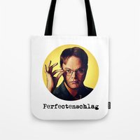 dwight schrute Tote Bags featuring Perfectenschlag  |  Dwight Schrute by Silvio Ledbetter