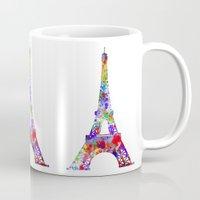 eiffel Mugs featuring Eiffel Tower  by ron ashkenazi