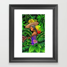 Exotic Woman on Tropical Rain Forest Framed Art Print