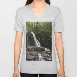 Tennessee Waterfall Smoky Mountains Color Photo Unisex V-Neck