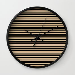 Tan Brown and Black Horizontal Var Size Stripes Wall Clock