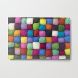 Colorful textile texture, handmade background Metal Print