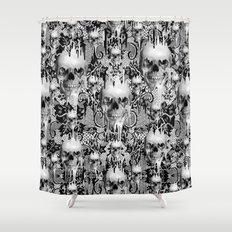 Victorian gothic lace skull pattern Shower Curtain