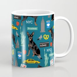 Miniature Doberman Pinscher min pin new york city tourist landmarks cute dog breed gifts Coffee Mug
