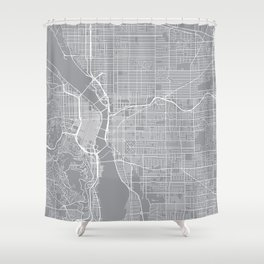 Portland Map, Oregon USA - Pewter Shower Curtain