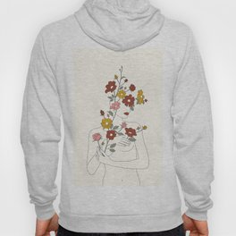 Colorful Thoughts Minimal Line Art Woman with Wild Roses Hoody