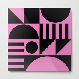 Mid Century Modern Geometric Abstract 935 Black and Pink Metal Print