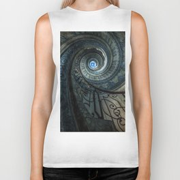 Decorated spiral staircase in blue tones Biker Tank