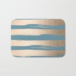 Painted Stripes Gold Tropical Ocean Blue Bath Mat