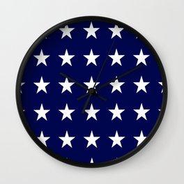 White on Blue Stars Wall Clock