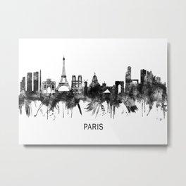 Paris France Skyline BW Metal Print
