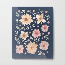 Retro Flower pattern - Classic Blue Metal Print