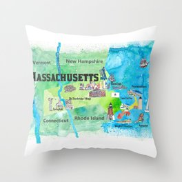 USA Massachusetts State Travel Poster Map with Touristic Highlights Throw Pillow