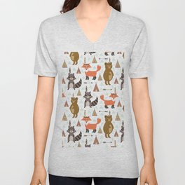 Bohemian orange brown forest animal arrows tribal pattern Unisex V-Neck