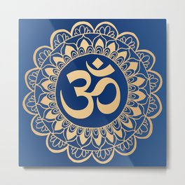 Blue and Gold Ohm Mandala Metal Print