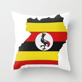 Uganda Map with Ugandan Flag Throw Pillow