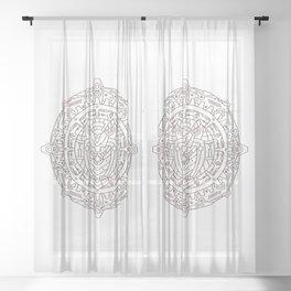 Steampunk Owl Mandala Sheer Curtain