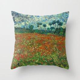 Vincent Van Gogh Poppy Field Throw Pillow