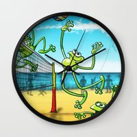 volleyball Wall Clocks featuring Olympic Volleyball Frog by Zoo&co on Society6 Products