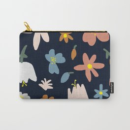 Blooming in the Navy (Handmade Floral Pattern) Carry-All Pouch