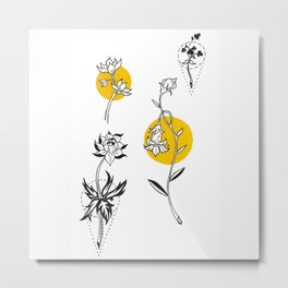 Wildflowers Circular Gold Ink Illustration Metal Print