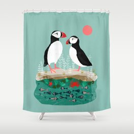 Puffins - Bird Art, Shorebird, Sea bird, birds, Cute illustration by Andrea Lauren Shower Curtain