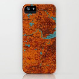 Boston 1893 old map, blue and orange artwork, cartography iPhone Case