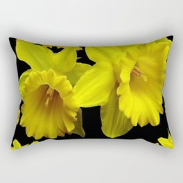 YELLOW DAFFODILS BLACK PATTERNED ART Rectangular Pillow